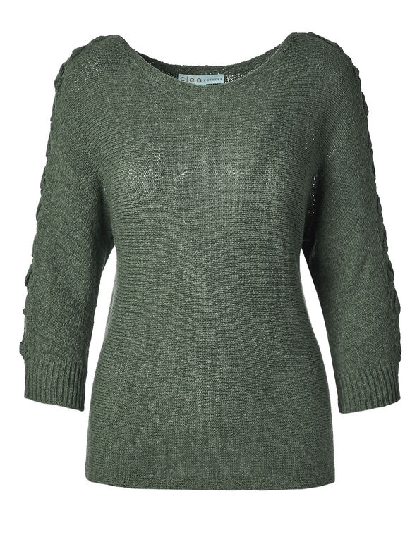 Olive Tape Yarn Sweater, Olive, hi-res