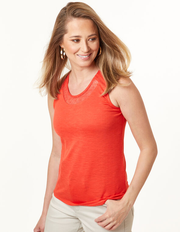 Lace Neck Top, Cajun, hi-res