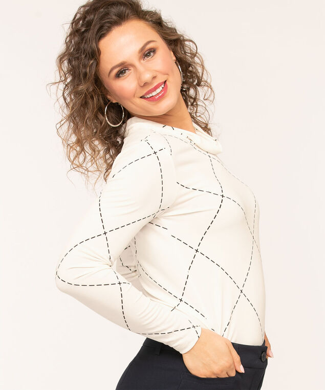 Ivory Grid Cowl Neck Top, Ivory/Black