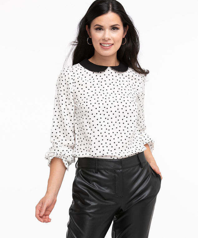 Long Sleeve Collared Blouse, Ivory/Black Polka Dot