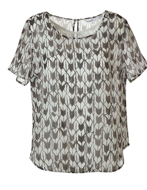 White & Black Geo Print Blouse, Black, hi-res