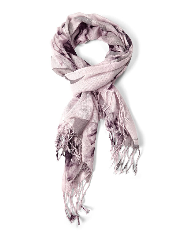 Purple Blurred Floral Oblong Scarf, Purple, hi-res