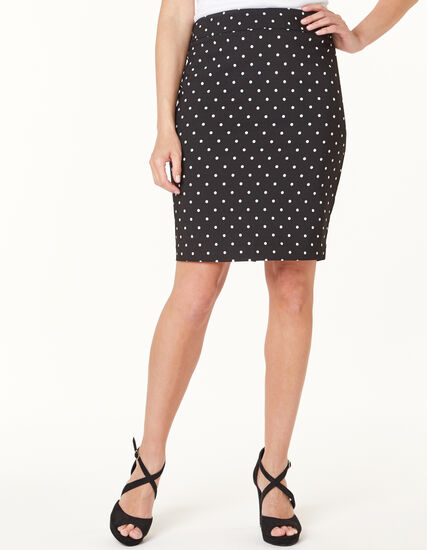 Polka Dot Pencil Skirt, Black, hi-res
