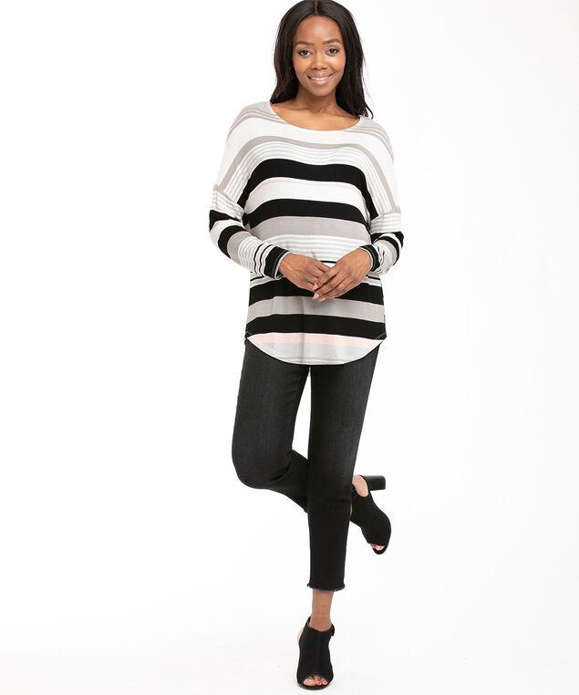 Oversized Boat Neck Tunic Top, Grey/Black/Soft Pink Stripe