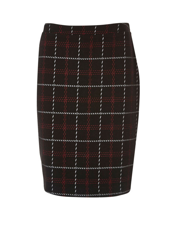Black Plaid Sweater Pencil Skirt, Black, hi-res