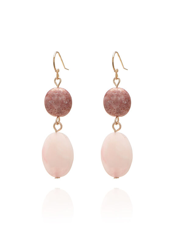 Pink Beaded Drop Earring, Pink/Rose Gold, hi-res