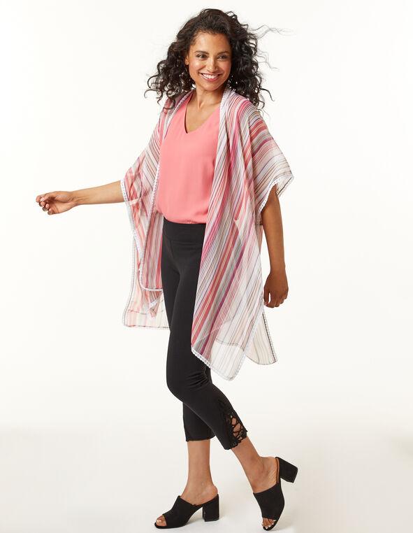 Pink Stripe Kimono, Pink, hi-res