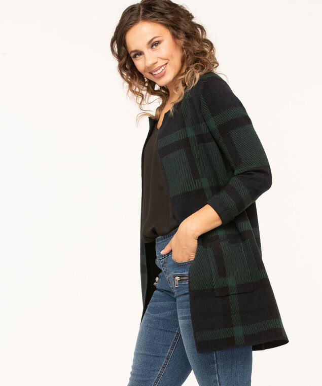 Blackwatch Plaid Open Cardigan, Forest Green/Navy/Black, hi-res