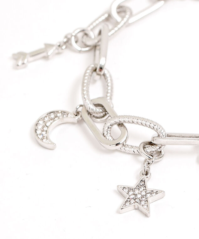 Chain Link Charm Bracelet, Silver