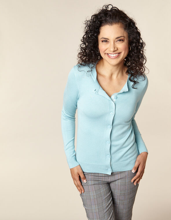 Light Blue Button Front Cardigan, Blue/Light Blue, hi-res