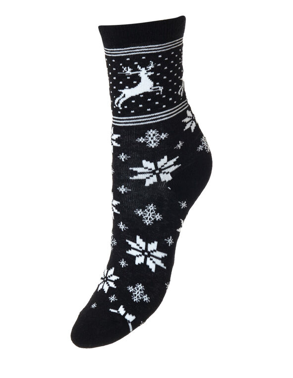 White Snowflake Socks, Black, hi-res