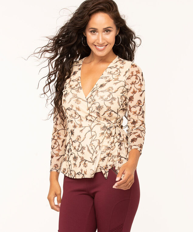 V-Neck Wrap Front Top, Camel/Brown, hi-res