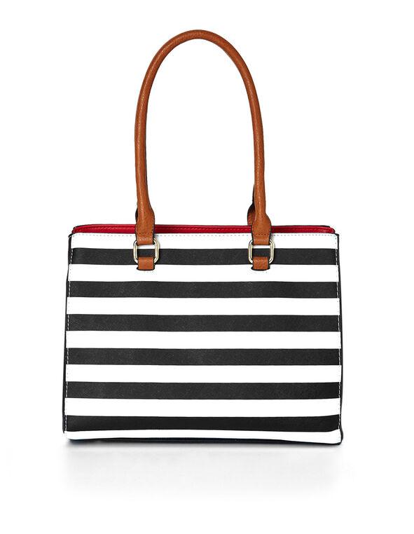 Black & White Striped Handbag, Black/White, hi-res