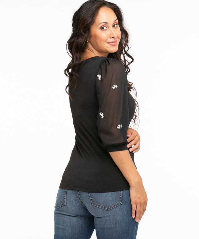 Embroidered Chiffon Sleeve Top, Black
