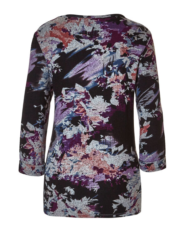 Sangria Floral Printed Hacchi Top, Black, hi-res