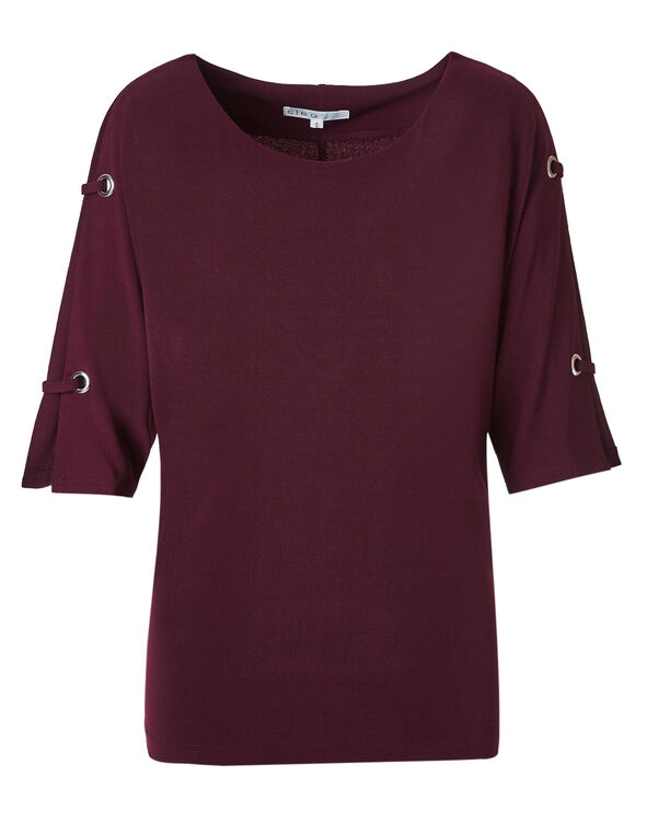 Wine Crepe Top, Wine, hi-res