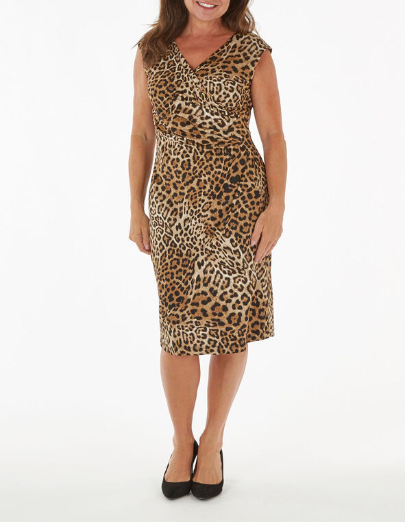 Leopard Printed Ruched Sheath Dress, Brown, hi-res