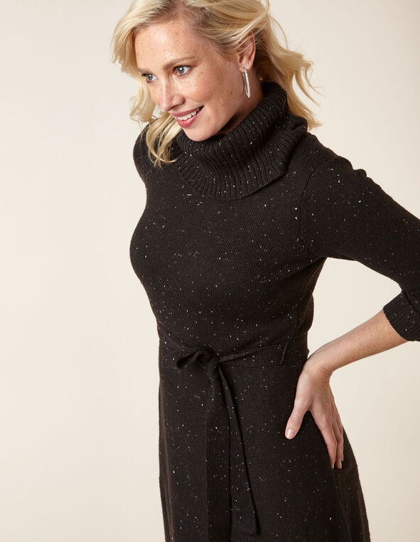 Black A-Line Sweater Dress, Black, hi-res