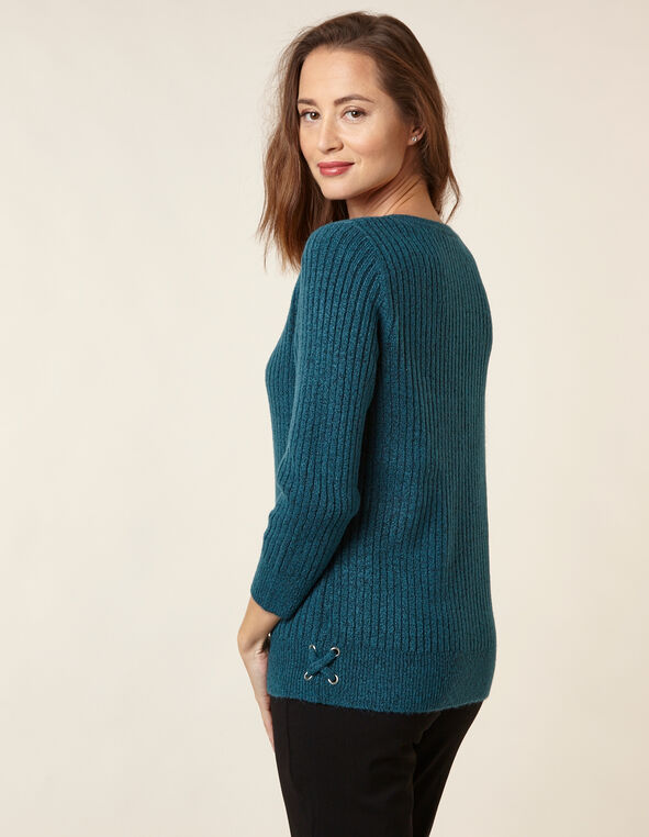 Teal Rib Knit Sweater, Turquoise, hi-res