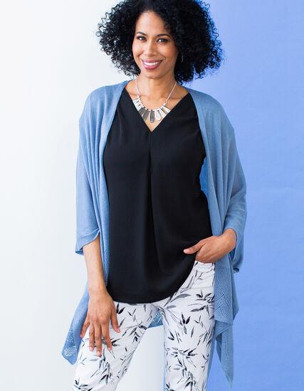 Chambray Open Stitch Kimono Sweater, Chambray, hi-res