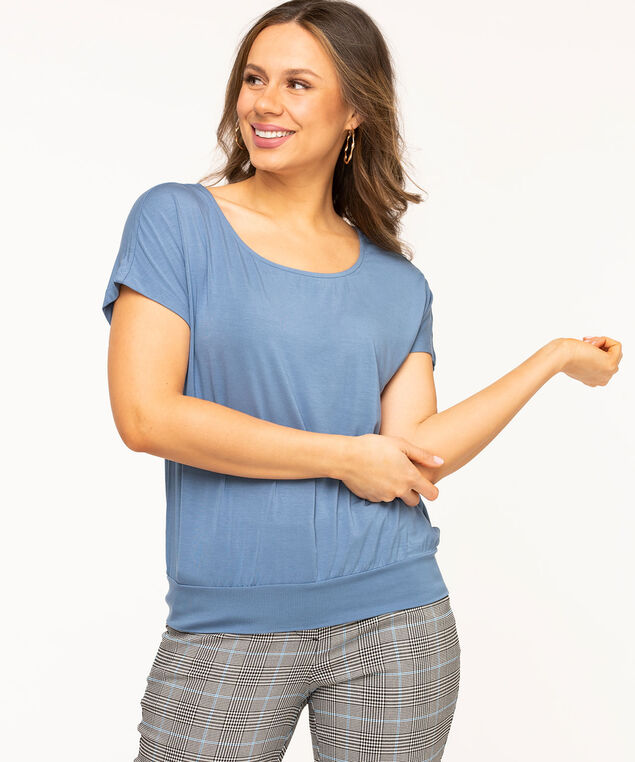 Scoop Neck Extended Sleeve Top, Sky Blue