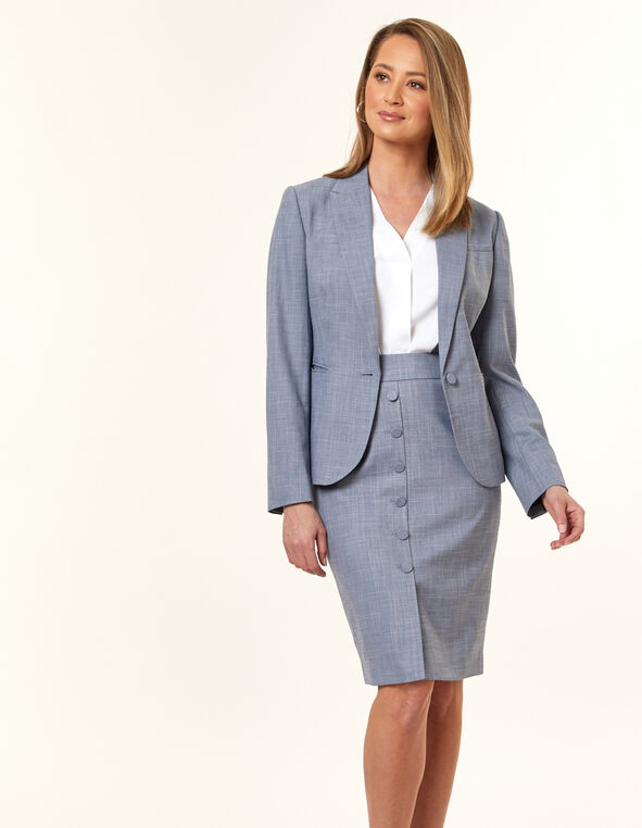 Navy Crosshatch Button Blazer, Navy, hi-res