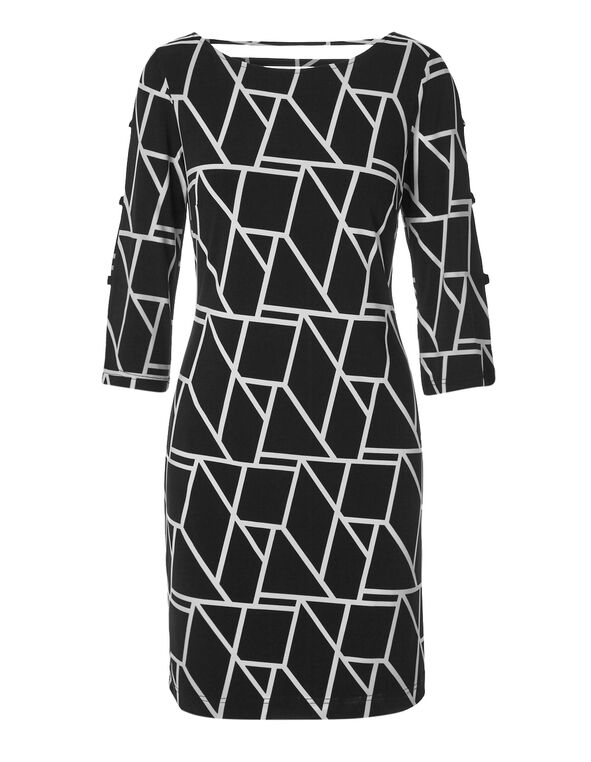 Geo Printed Shift Dress, Black/White, hi-res