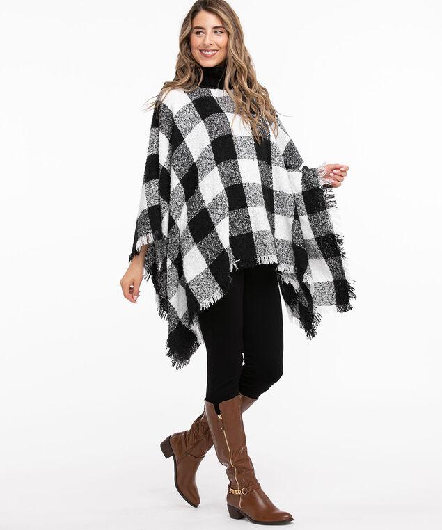 Turtleneck Woven Poncho, Black/White Check