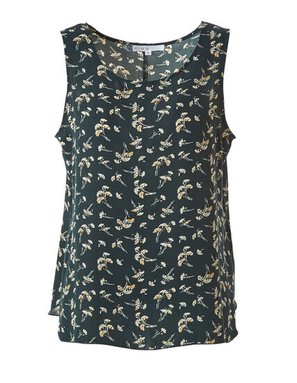 Loden Print Shell Blouse, Green, hi-res