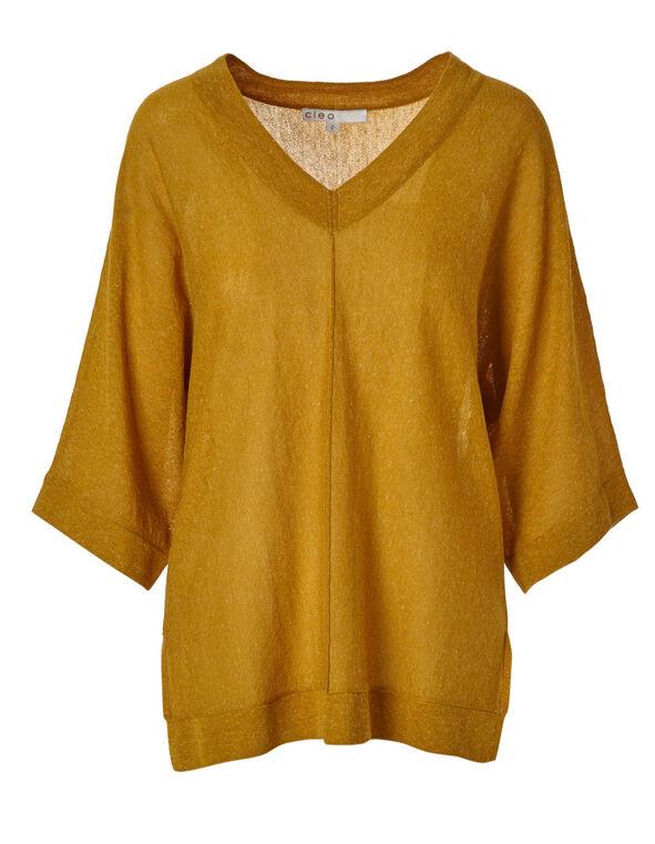 Ochre Dolman Sleeve Sweater, Mustard, hi-res
