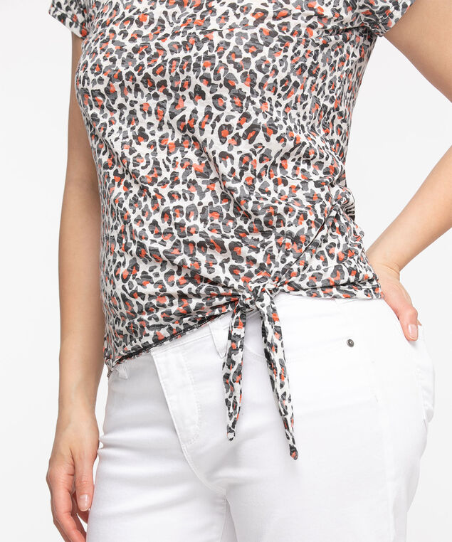 Rust Tie Front Burn-Out Print Tee, Rust Leopard