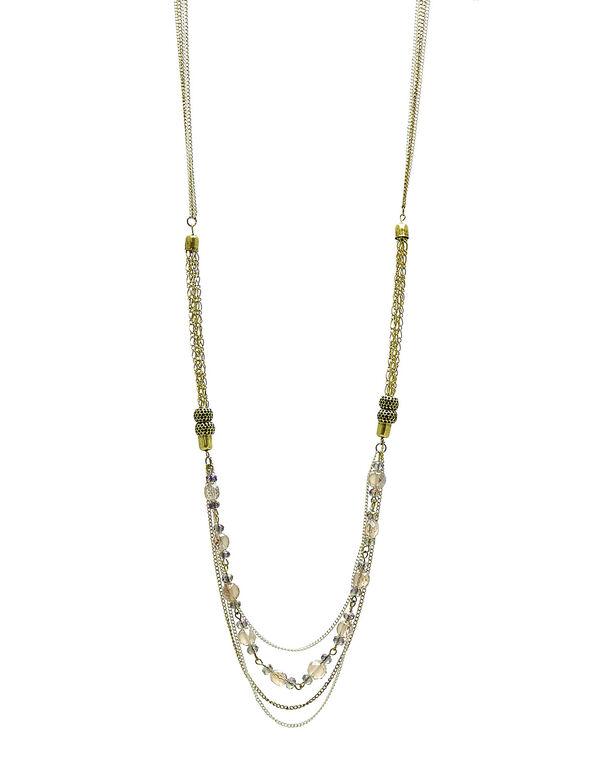 Gold Burnished Long Necklace, Gold, hi-res