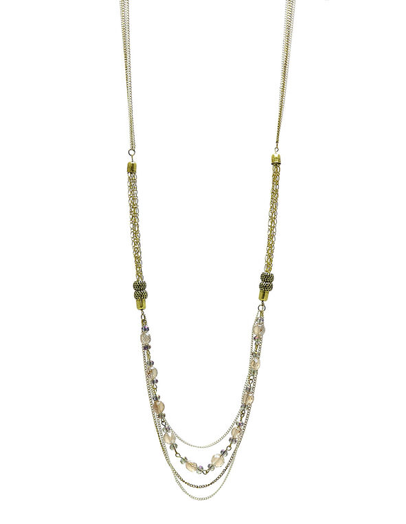 Gold Burnished Long Necklace, Gold, hi-res