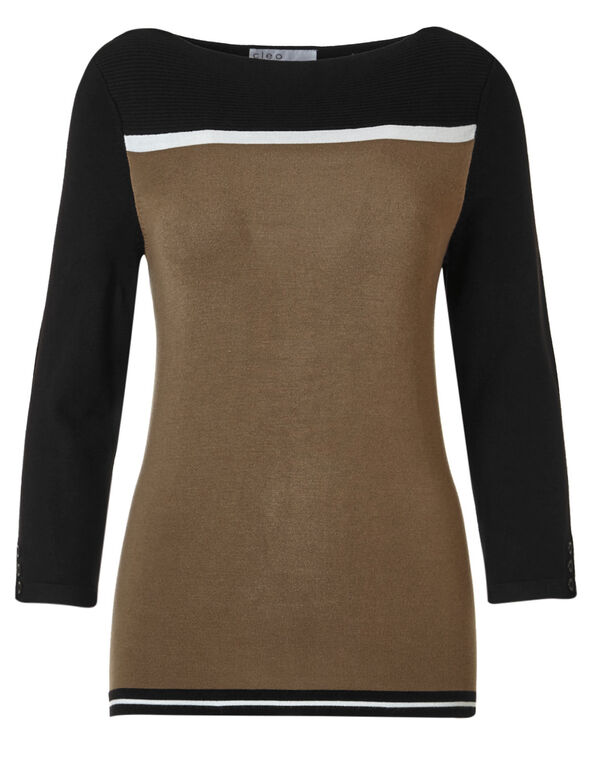 Camel Ribbed Sweater, Black/Camel, hi-res