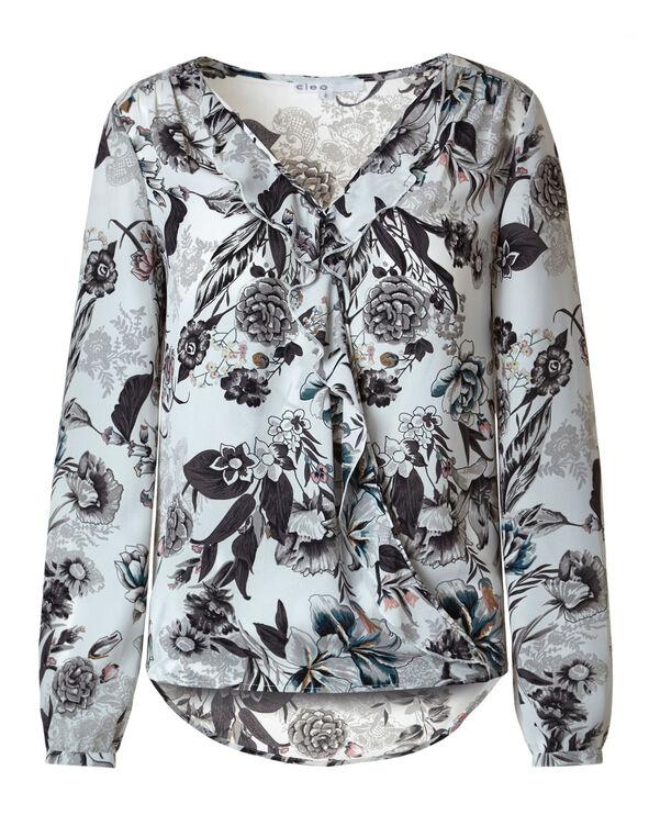 Neutral Floral Wrap Front Blouse, Ivory/Neutral, hi-res