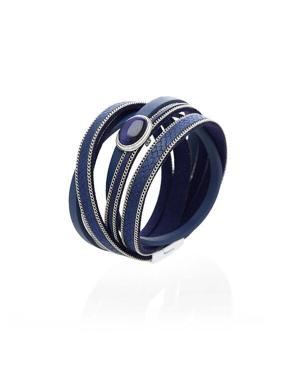 Blue Cat Eye Wrap Bracelet, Blue, hi-res