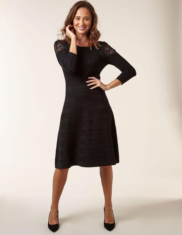 Black Lace Fit & Flare Sweater Dress, Black, hi-res