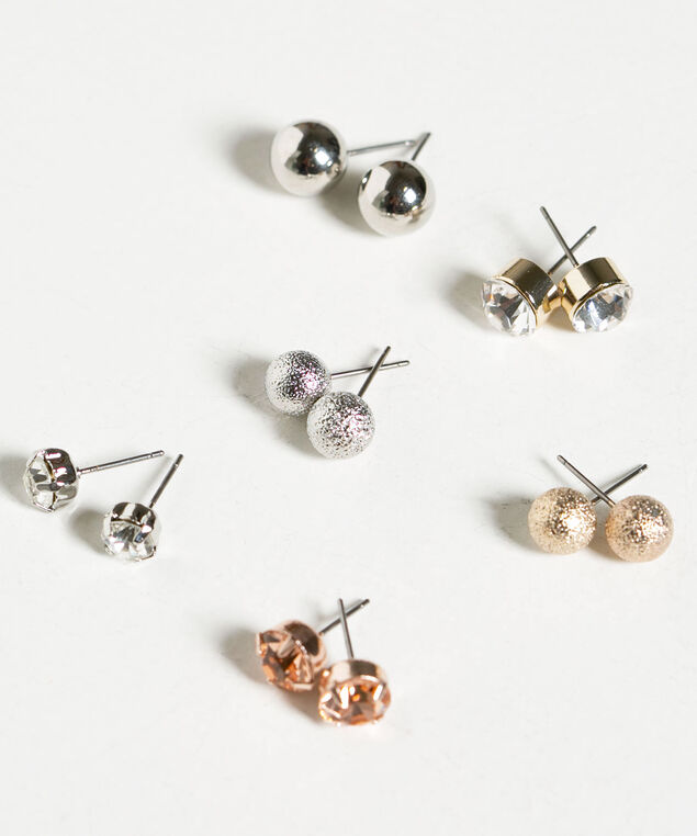 Mixed Stud Earring Set, Silver/Gold/Rose Gold