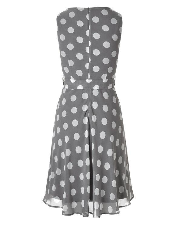 Grey Dotted Chiffon Dress, Light Grey, hi-res