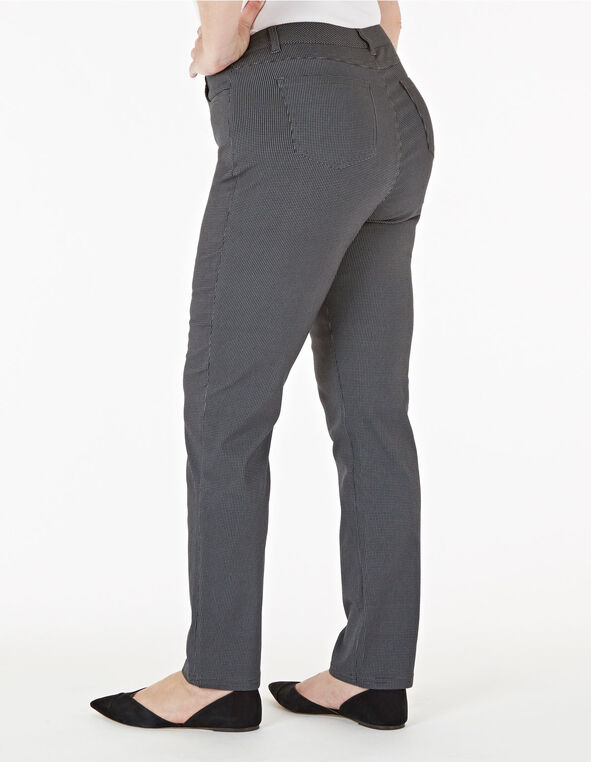 Grey Curvy Houndstooth 5-Pocket Pant, Grey, hi-res