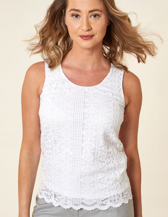 White Lace Overlay Top, White, hi-res