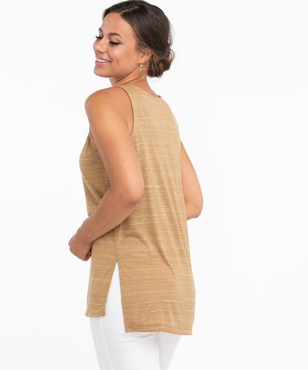 Sleeveless Scoop Neck Tunic Top, Camel Space Dye