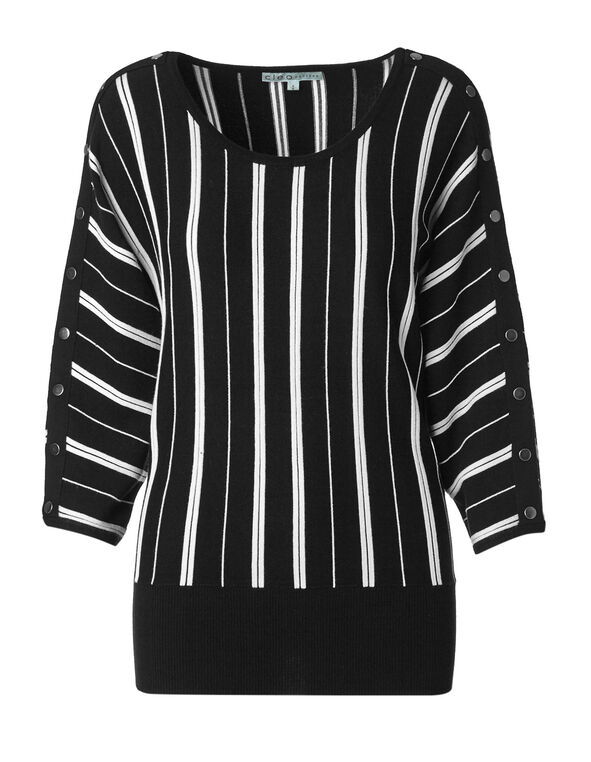 Black & White Striped Sweater, Black/White, hi-res