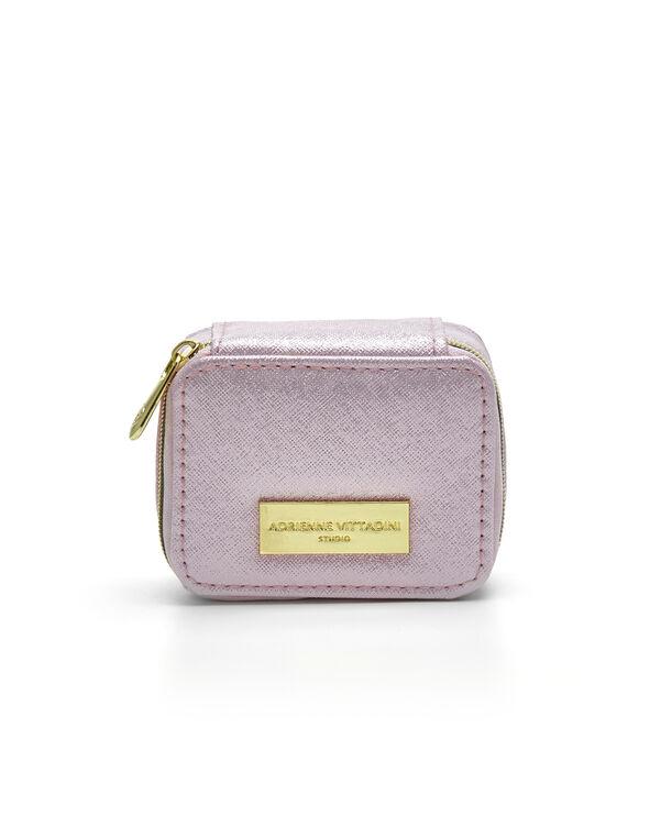 Pink Shimmer Pillbox Case, Pink, hi-res