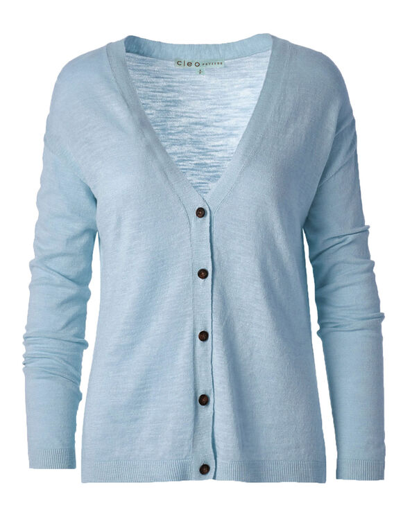 Blue Slub Button Front Cardigan, Light Blue, hi-res