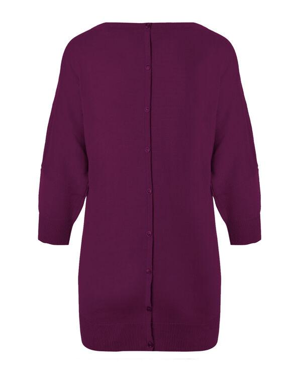 Dolman Back Button Sweater, Sangria, hi-res