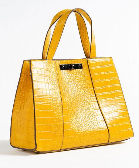 Gold Structured Croco Handbag, Gold, hi-res