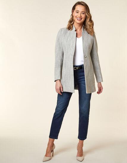 Mid Grey Tweed Coat, Grey, hi-res