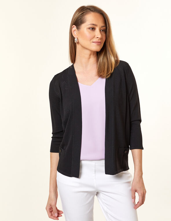 Black Pointelle Knit Cardigan, Black, hi-res