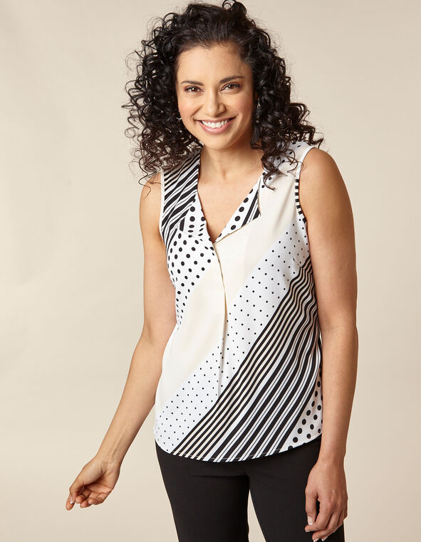 Ivory Mixed Print Sleeveless Blouse, Ivory/Black, hi-res
